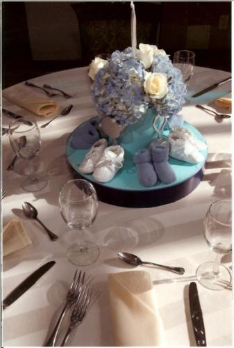christening centerpiece - booties