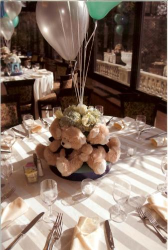 christening centerpiece - teddy bears