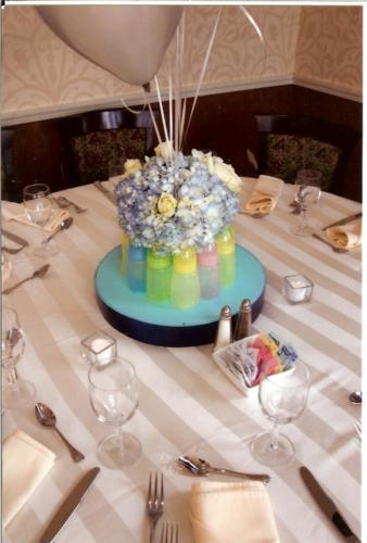 christning centerpiece - bottles